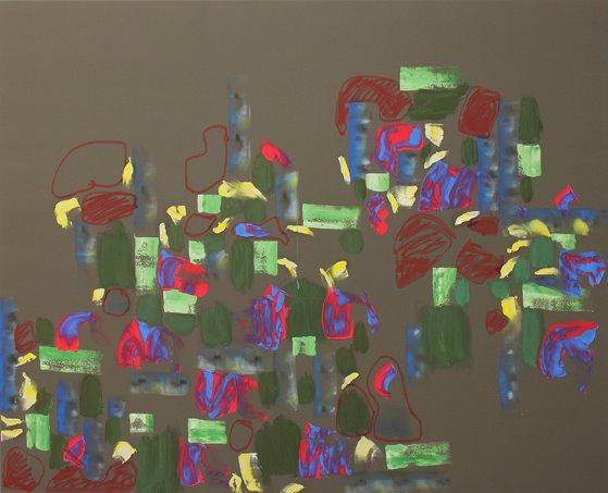 """Quinta Essentia"" Öl und Acryl auf Polyester, 130x160 cm, 2012  Pascal Geiger, Oleksiy Koval, Kuros Nekouian, Stefan Schessl, Veronika Wenger, Daniel Worsch"