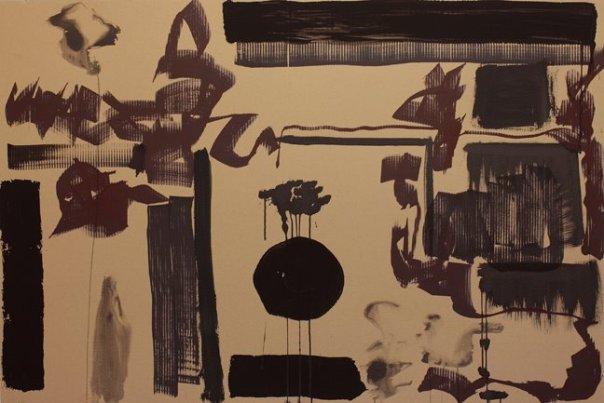 """""""Supralunare Welt"""" Mixed Media auf Wellpappe, 100x150 cm, 2012  Pascal Geiger, Oleksiy Koval, Kuros Nekouian, Stefan Schessl, Veronika Wenger, Daniel Worsch"""