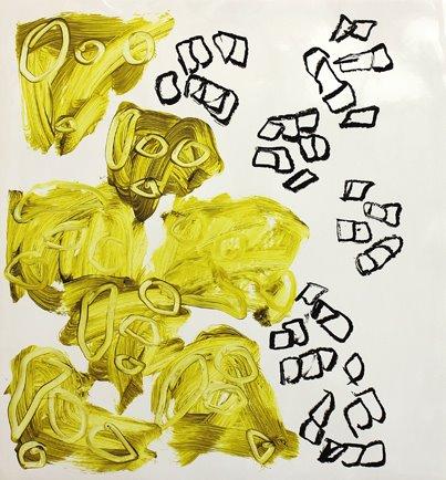 """Duell"" Öl auf Papier, 75x70 cm, 2012  Kuros Nekouian, Veronika Wenger"