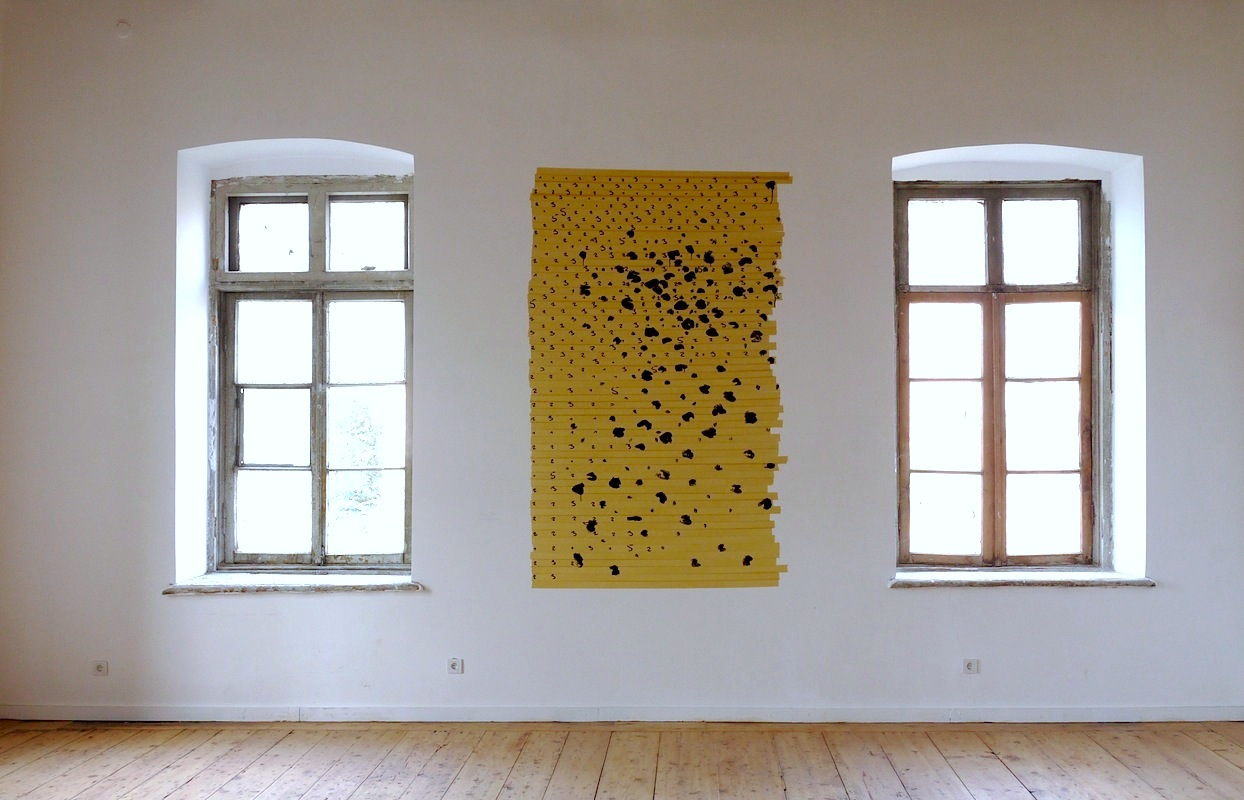 "Oleksiy Koval, ""Surrogate"", 2014, ink, marker, tape on the wall. Photo © Michael Hofstetter"
