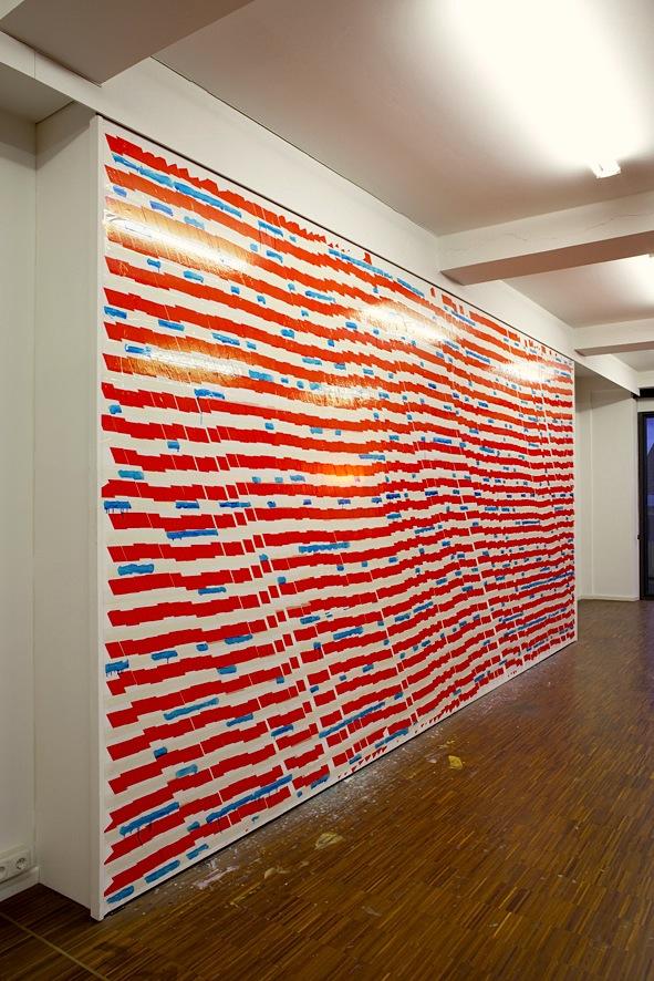 "Oleksiy Koval, ""Bazar"", 2014, tape and ink on wall. Photo © Klaus Mauz"