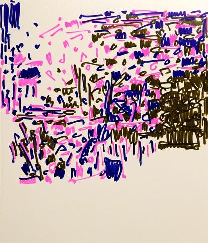 "Oleksiy Koval, ""Algorithmus"", 2014, 80 x 70 cm, marker on FPY. Photo © Klaus Mauz"