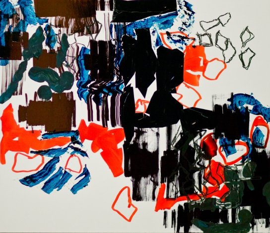 """Gnade"" Mixed Media auf FPY, 60 x 70 cm, 2012. Daniel Geiger, Oleksiy Koval, Kuros Nekouian, Stefan Schessl, Veronika Wenger, Pascal Worsch. Photo © Ronny Waleska"