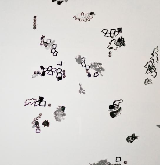 """Sublunare Welt"" Mixed Media auf FPY, 93 x 90 cm, 2012. Daniel Geiger, Oleksiy Koval, Kuros Nekouian, Stefan Schessl, Veronika Wenger, Pascal Worsch. Photo © Ronny Waleska"
