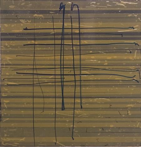 "Oleksiy Koval, ""Melancholiker"", 2015, 70 x 65 cm, marker, tape on FPY"