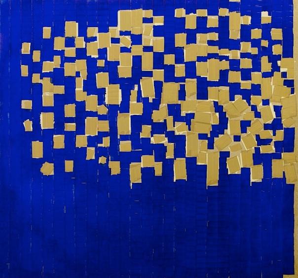"""Oleksiy Koval, """"Quinta Essentia"""", 2013, 130 x 135 cm, marker, tape on MDF. Photo © Klaus Mauz"""