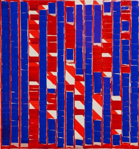 """Oleksiy Koval, """"Sublunare Welt"""", 2014, 80 x 70 cm, tape and ink on MDF. Photo © Klaus Mauz"""