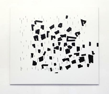 """Oleksiy Koval, """"Zebra"""", 2013, 70 x 80 cm, marker, electrical tape on FPY. Photo © Klaus Mauz"""