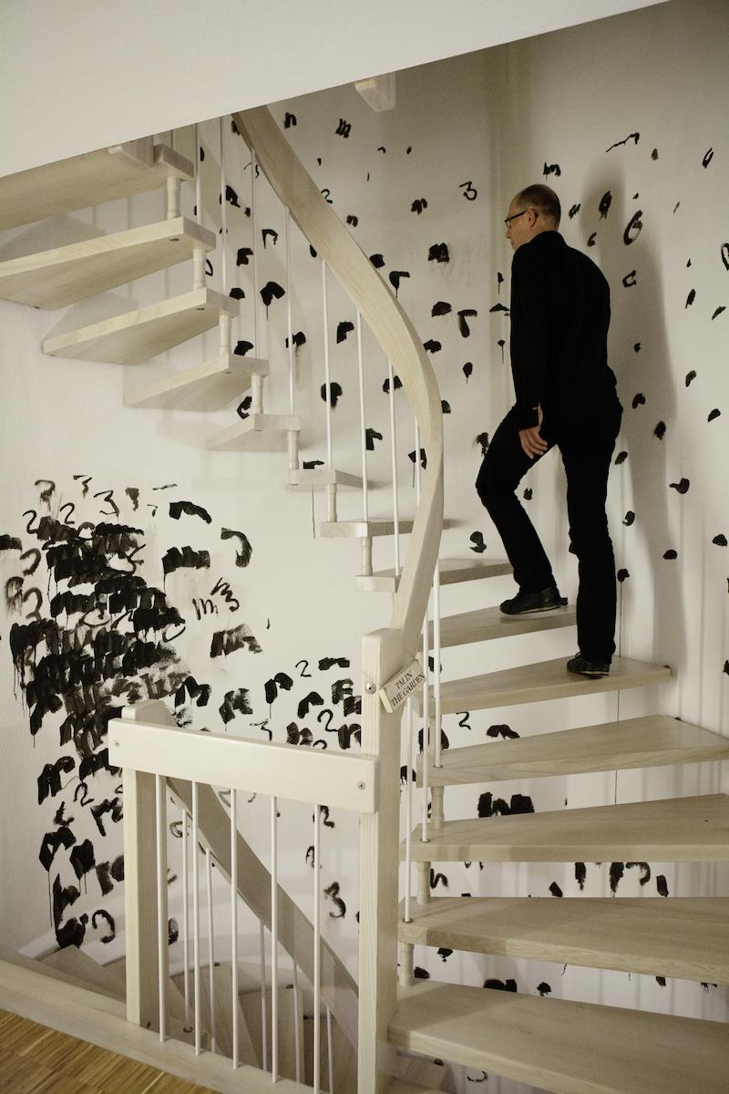 "Oleksiy Koval, ""Die Treppe"", 2012, ink on wall, private house, Starnberg. Photo © Klaus Mauz"