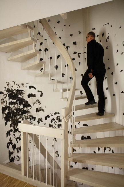 "Oleksiy Koval, ""Die Treppe"", 2012, ink on wall, private house, Starnberg. Photo © Klaus Mauz"