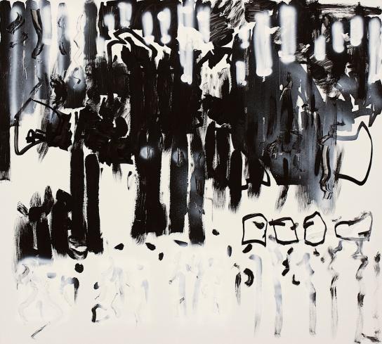 "Daniel Geiger, Oleksiy Koval, Kuros Nekouian, Veronika Wenger, ""Untitled"", Munich 2013, mixed media on FPY, 100 x 110 cm. Photo © The Beautiful Formula Collective"