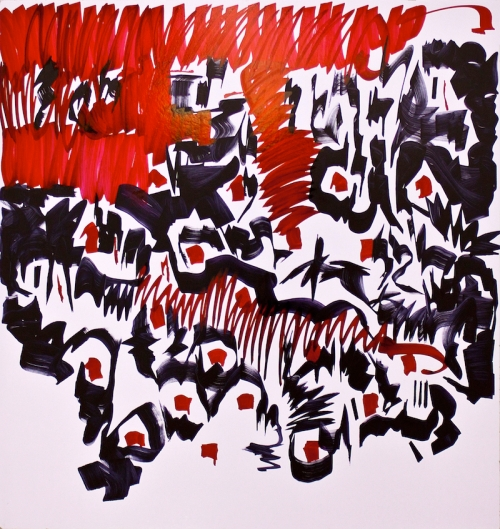 "Oleksiy Koval, Kuros Nekouian, ""GAU"", 2013, marker on FPY, 130 x 120 cm, collection of the Hubei Institute of Fine Arts"