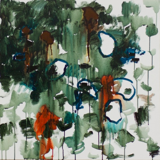 """Tlo"", mixed media on canvas, 60 x 60 cm, Tehran, 2013. Daniel Geiger, Oleksiy Koval, Kuros Nekouian, Veronika Wenger. Collection University of Tehran, Iran Photo © The Beautiful Formula Collective."