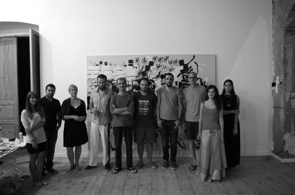 THE BEAUTIFUL FORMULA SYNDICATE, Center of Contemporary Art, Tbilisi, 2014. Fltr: Yasaman Nedaei, Arshia Samsaminia, Veronika Wenger, Oleksiy Koval, Stefan Schessl, Lasha Babuadze, Vato Urushadze, Kuros Nekouian, Tami Chitashvili, Karina Bugayova. Photo © Dmytro Goncharenko