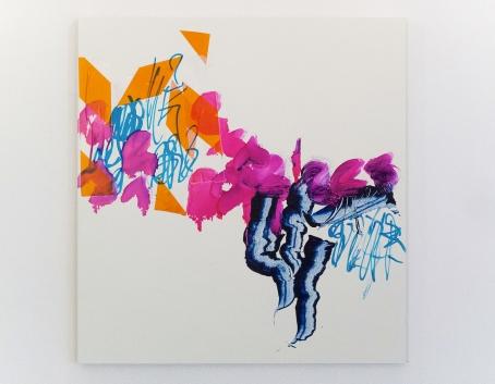 """Fixer"", mixed media on MDF, 53 x 50 cm, TILGallery, London 2015. Daniel Geiger, Oleksiy Koval, Kuros Nekouian, Veronika Wenger. Photo © The Beautiful Formula Collective."