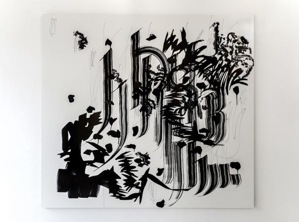 """GAU"", marker, ink on MDF, 110 x 120 cm, TILGallery, London 2015. Daniel Geiger, Oleksiy Koval, Kuros Nekouian, Veronika Wenger. Photo © The Beautiful Formula Collective."