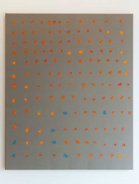 """Phlegmatiker"", mixed media on polyester, 85 x 70 cm, TILGallery, London 2015. Daniel Geiger, Oleksiy Koval, Kuros Nekouian, Veronika Wenger. Photo © The Beautiful Formula Collective."