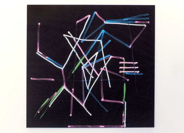 """Schar"", marker on polyester, 130 x 135 cm, TILGallery, London 2015. Daniel Geiger, Oleksiy Koval, Kuros Nekouian, Veronika Wenger. Photo © The Beautiful Formula Collective."