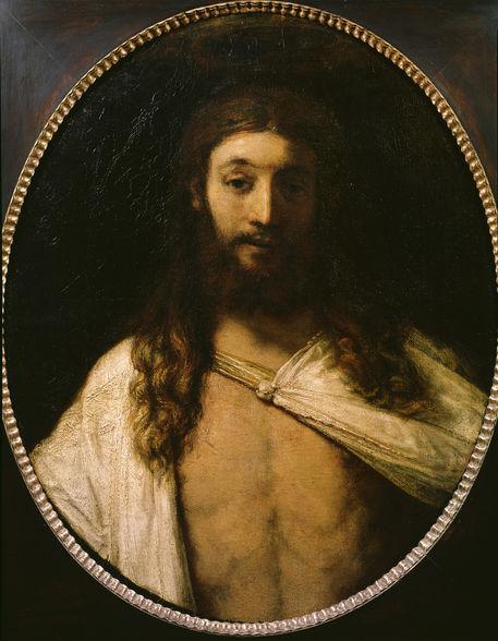 Rembrandt, Harmensz van Rijn, 1606-1669. 'Der auferstandene Christus', 1661. Oel auf Leinwand (oval), 78,5 x 63 cm. Inv.Nr. 6471 Muenchen, Alte Pinakothek.