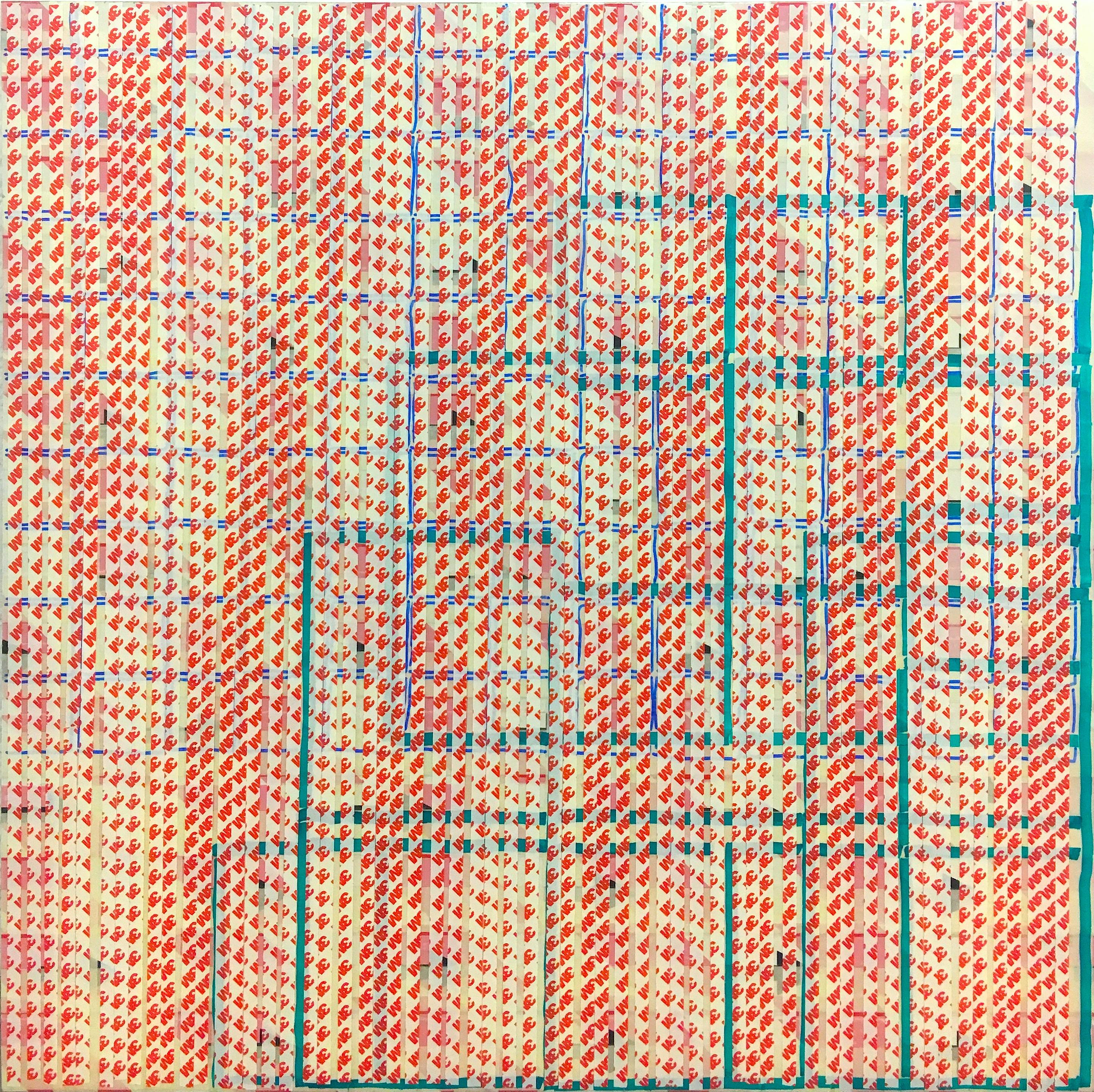 Campari Soda Oleksiy Koval, 2018 76 x 80 cm, marker, tape on MDF